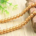 Beads, Glass Imitation pearls, Glass, Orange , Round shape, Diameter 8mm, 18 Beads, [FZZ0030]